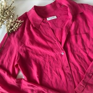 Equipment Brett Pink Silk Button Down Blouse